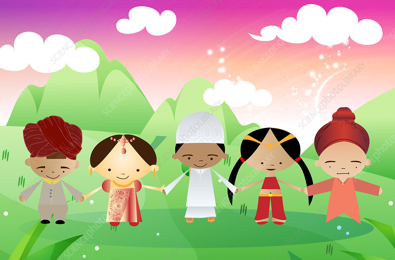 Children of different religions joining hands, illustration
