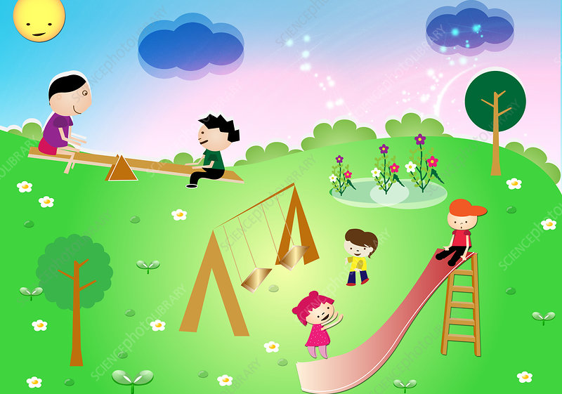Children playing in a park, illustration
