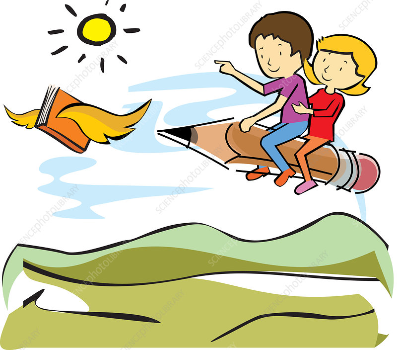 Children riding a pencil flying behind a book, illustration