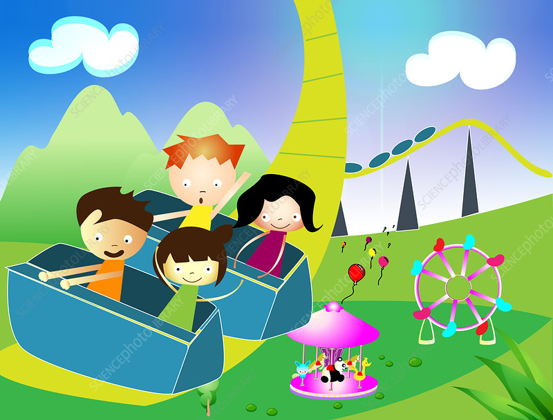 Children riding on a rollercoaster, illustration