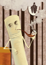 Cigarette smoking away human in pipe, illustration