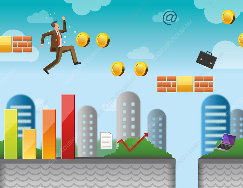 Conceptual illustration of businessman in game