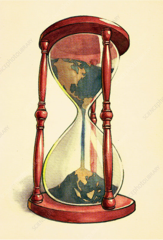 Conceptual illustration of globe in hourglass