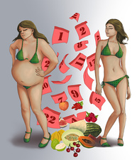 Conceptual illustration of healthy dieting