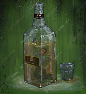 Conceptual illustration of man drowning in alcohol bottle