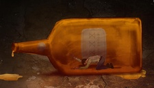 Conceptual illustration of man in bottle