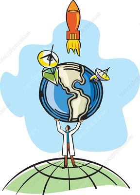 Conceptual illustration of scientist holding the earth
