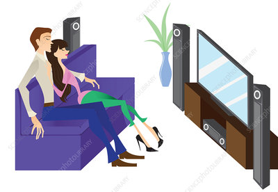 Couple watching television, illustration