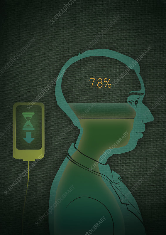 Data being uploaded to brain, illustration