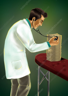 Doctor examining money with stethoscope, illustration