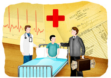 Doctor, medical insurance agent and patient, illustration
