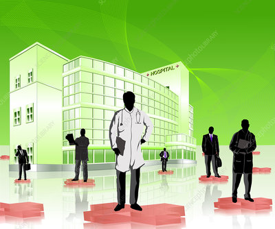 Doctors and medical sales representatives, illustration