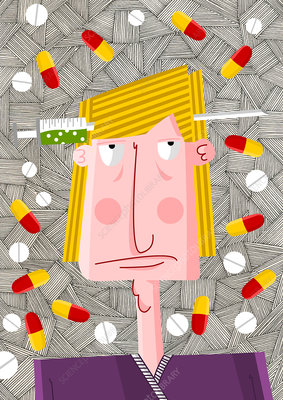 Drug addict surrounded by pills, illustration