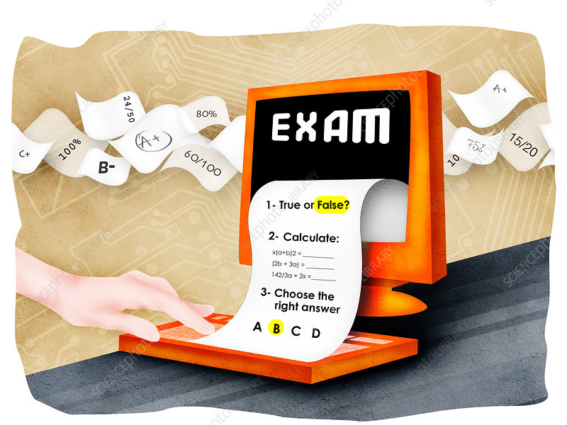 Exam paper with desktop PC, illustration
