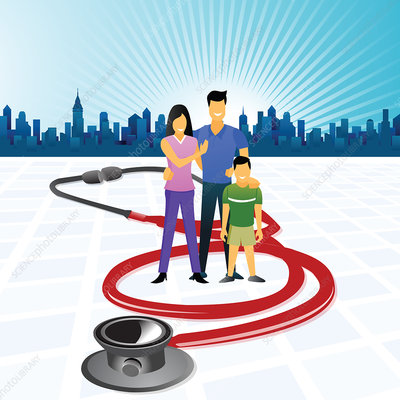 Family surrounded with a stethoscope, illustration