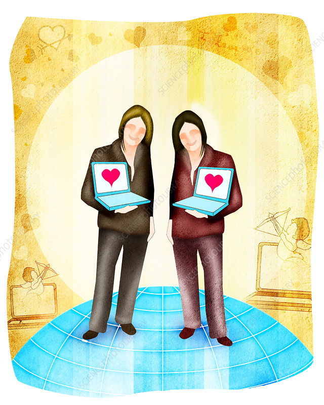 Female homosexual couple standing with laptops, illustration