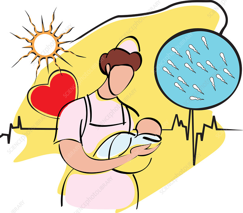 Female nurse carrying a baby, illustration