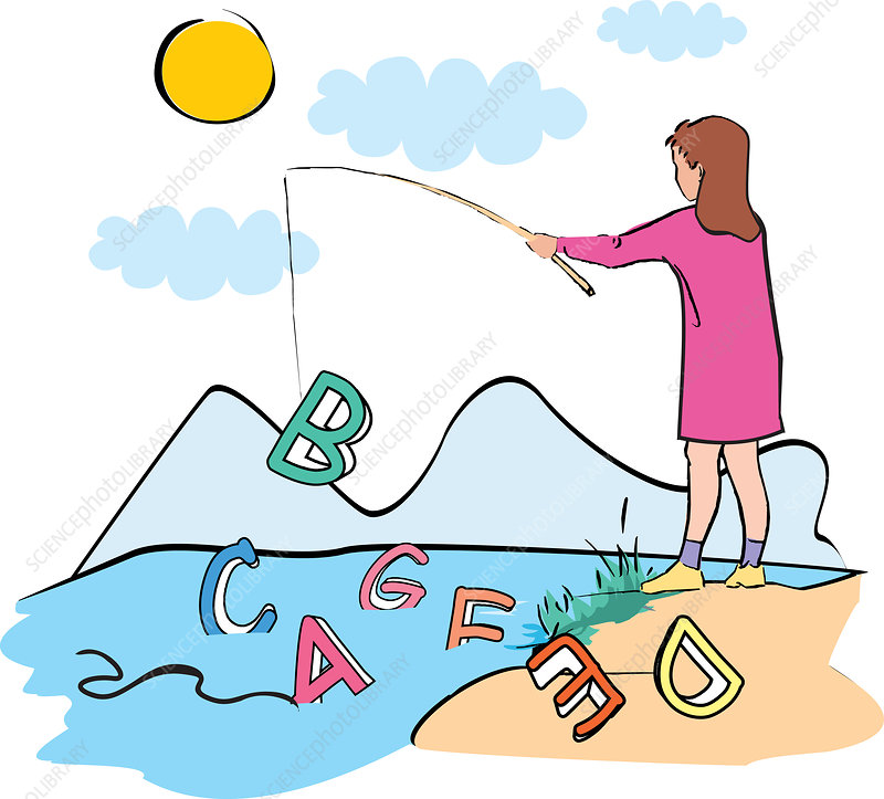 Girl fishing out alphabets, illustration