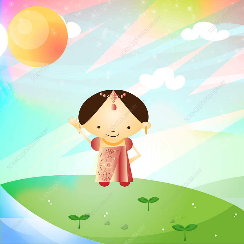 Girl standing in a field and smiling, India, illustration