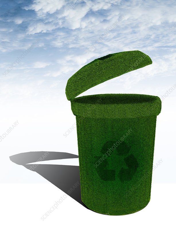 Grass rendering a recycling bin, illustration