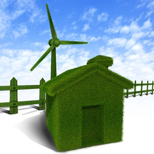 Green home with a wind turbine, illustration