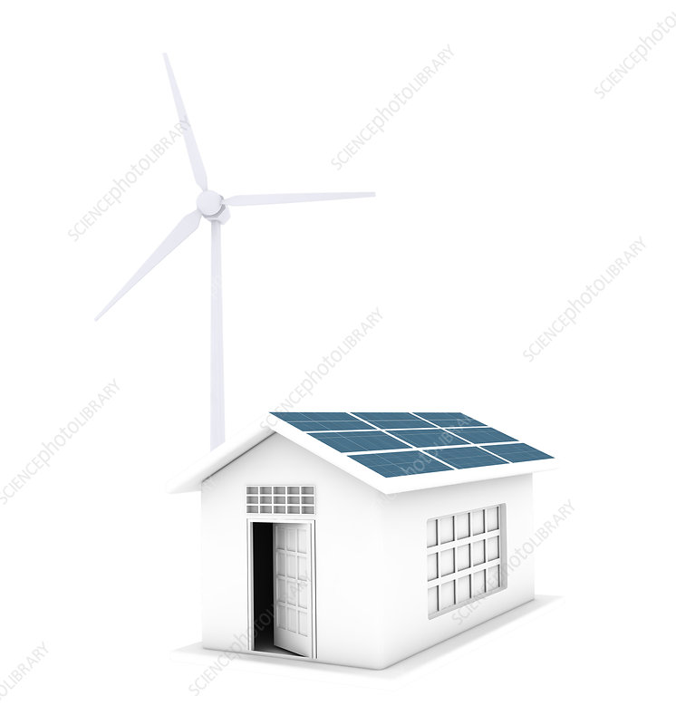 House running on natural energy resources, illustration