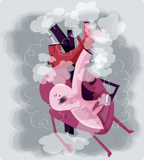 Human heart smoking cigarette, illustration