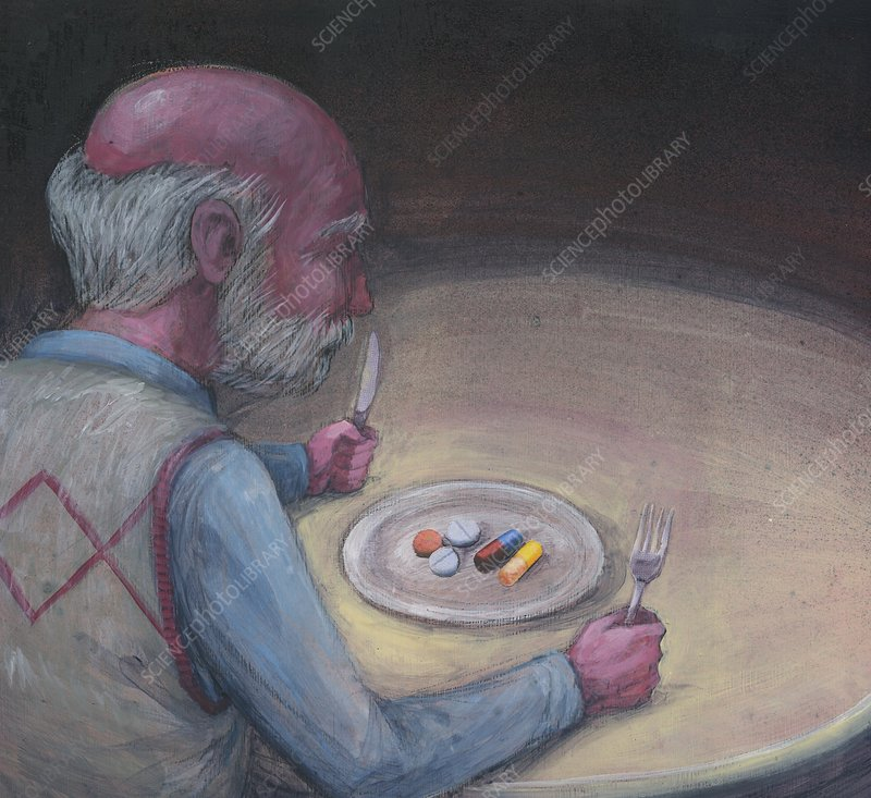 Illustration elderly man with medication on plate
