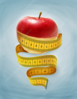 Illustration of an apple wrapped with measuring tape