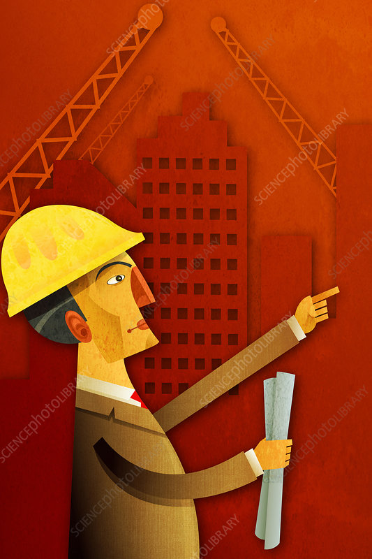 Illustration of an engineer holding blueprints