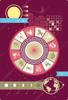 Illustration of astrology signs in infographic style