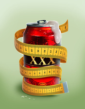 Illustration of beer can wrapped with measuring tape