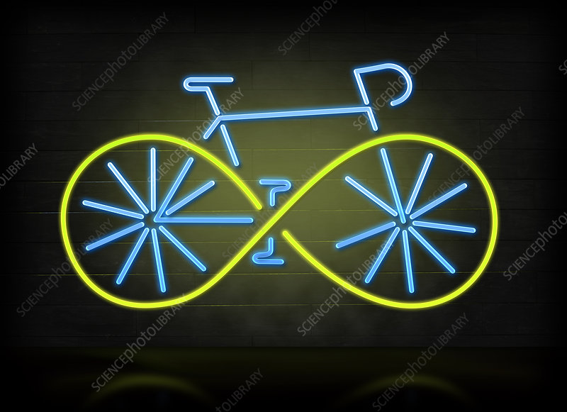 Illustration of bicycle with green wheels