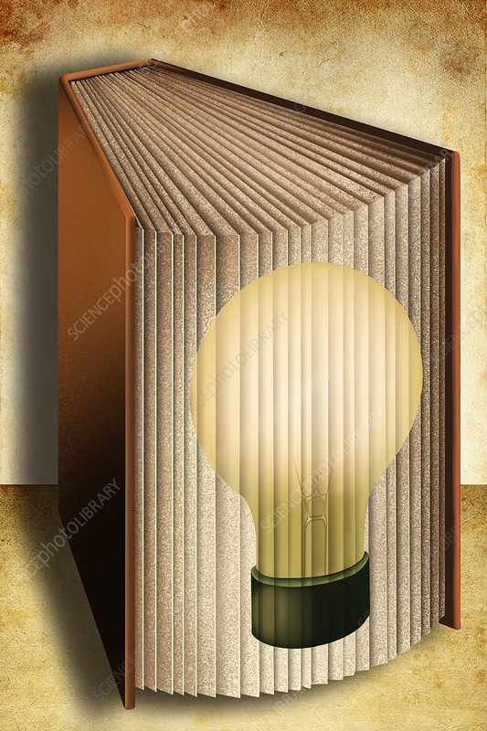 Illustration of book with light bulb