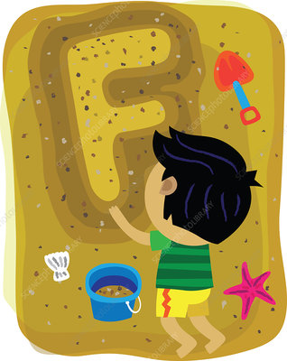 Illustration of boy making letter F with sand