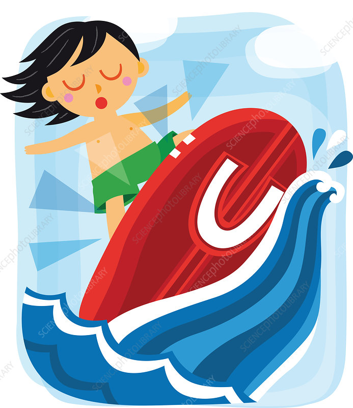Illustration of boy surfing with letter U
