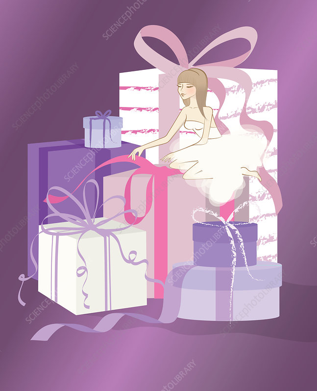Illustration of bride opening gifts