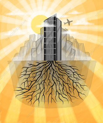 Illustration of buildings with roots