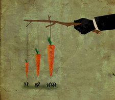 Illustration of business people jumping for carrot