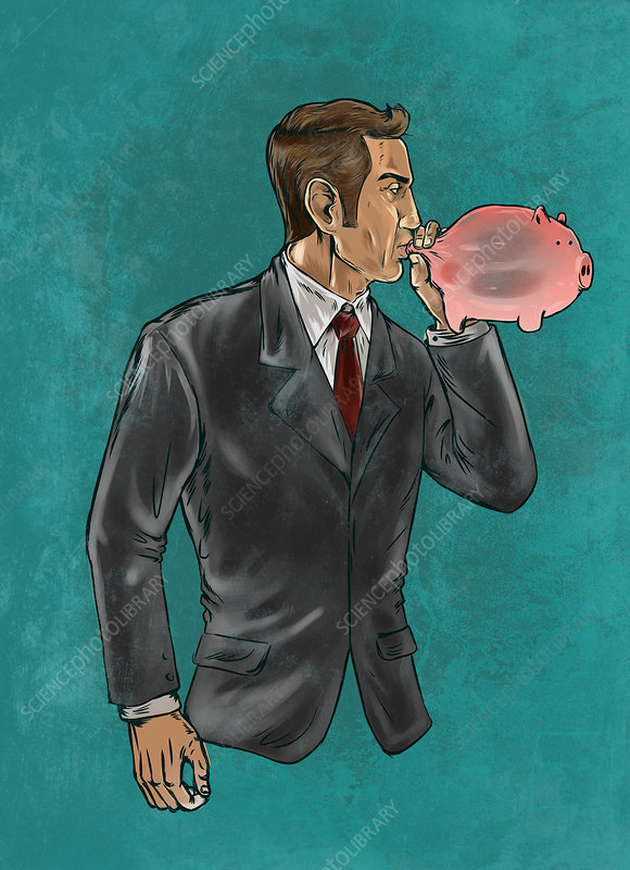 Illustration of businessman blowing piggybank