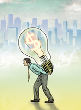 Illustration of businessman carrying light bulb