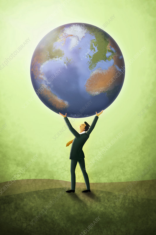 Illustration of businessman holding planet