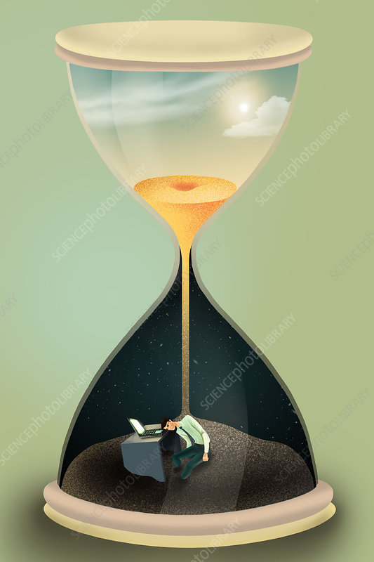 Illustration of businessman in hourglass