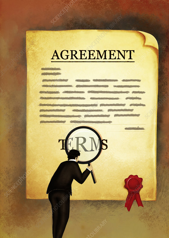 Illustration of businessman reading an agreement