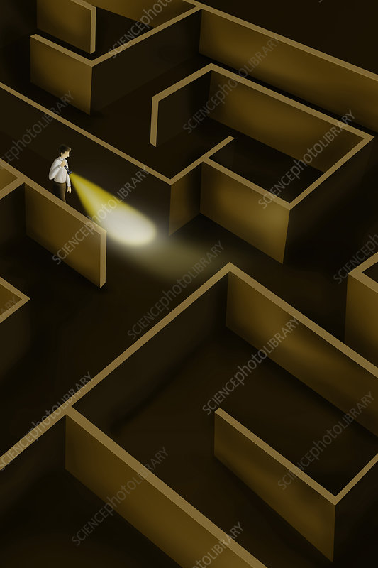 Illustration of businessman searching way in maze
