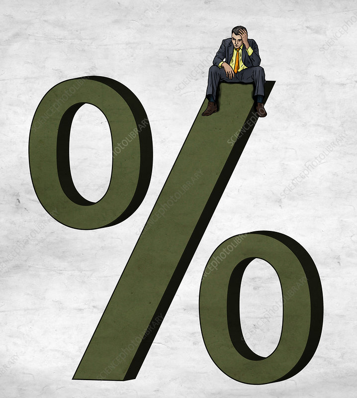 Illustration of businessman sitting on percentage sign
