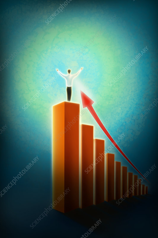 Illustration of businessman standing on bar graph