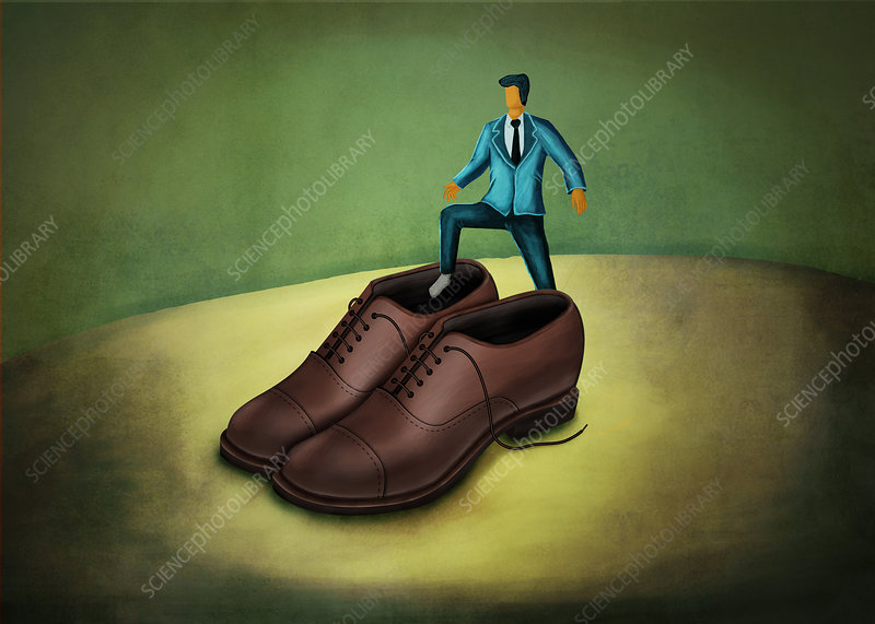 Illustration of businessman stepping in large shoes