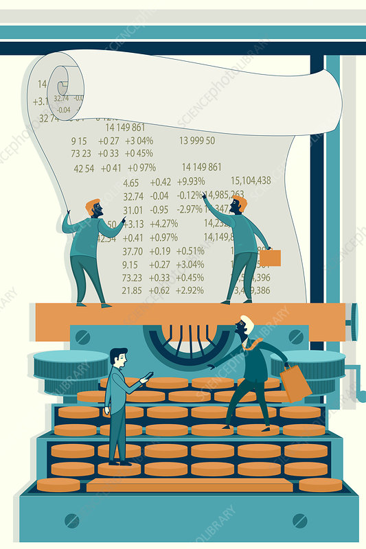Illustration of businessmen calculating stock finances