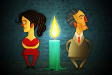 Illustration of candle in-between couple